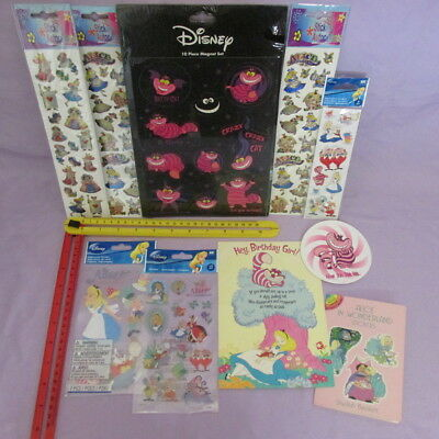 Lot collection of Alice in Wonderland Sticker sheets, Magnets and Card / vintage
