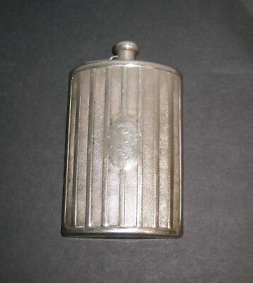 Antique FLASK Made In Germany Fancy style Silverplate large curved Pocket Deco