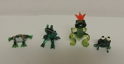 4 Small Green Glass Frogs Toads