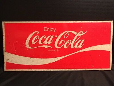 "Vintage  ""Enjoy Coca-Cola"" Store Display Metal Sign 22'' x 10'' FREE US SHIPPING"