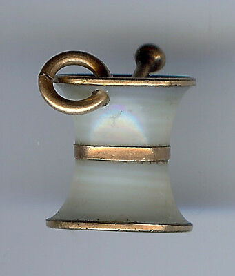 Antique Mother Of Pearl Mortar & Pestle Pharmaceutical Large Charm Or Pendant
