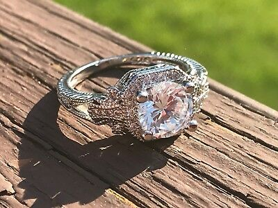 Costume Jewelry Antique Set CZ Ring With Side Stones 925 Silver New Size 8