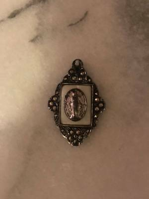 Vintage Sterling Marcasite Religious Miraculous Mary Medal/Pendant Mop
