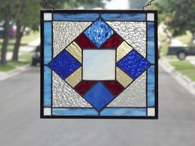 """NO Reserve • Quilt  Stained Glass Window Panel • 12 ½"""" X 11 ½"""""""