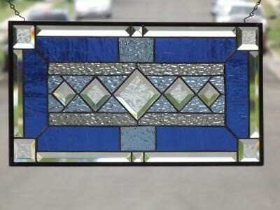 """•Timeless •Beveled Stained Glass Window Panel • 21 ½"""" x11 ½"""""""