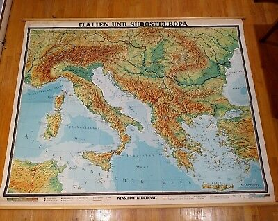 Vintage LARGE Wall Roll Map Italy & southern Europe WENSCHOW RELIEF Denoyer NICE