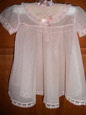 Vintage Baby Dress, Sheer Pink Dotted Swiss, Ruffles lace for baby or lg. doll