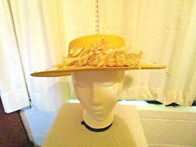 Vintage Yellow Wide Brim Floral Decorated Ladies Hat