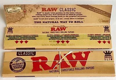 2 Packs Raw Classic King Size Slim Natural Organic  64  Rolling Papers