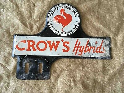 Vintage Crow's Hybrid Corn Seed Advertising License Plate Topper