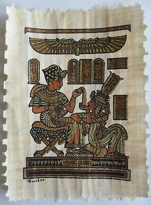 Papyrus Painting From Egyptian Art Caravan of King Tut and His Wife