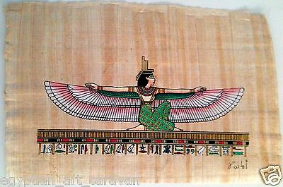 Papyrus Painting From Egyptian Art Caravan of Isis stretching her wings