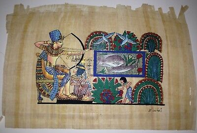 Papyrus Painting From Egyptian Art Caravan of King Tut and His Wife Fishing