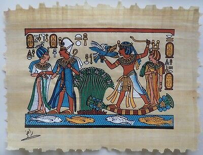 From Egyptian Art Caravan Papyrus Painting of King Tut on his Papyrus Boat