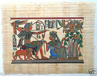 Papyrus Painting From Egyptian Art Caravan of King Tut and his Queen