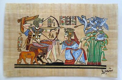 Papyrus Painting From Egyptian Art Caravan King Tut and His wife