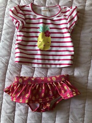Gymboree Baby Girl Pineapple 2 Piece Swimsuit Size 3-6 Months Pink/Yellow