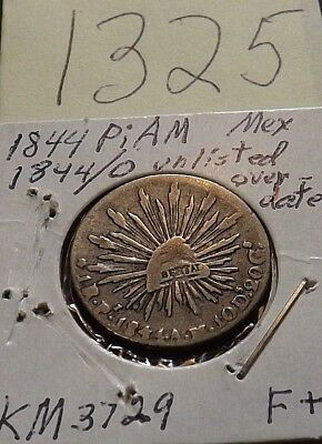 1844 Pi Am one silver Real, UNLISTED OVERDATE 1844/0 scarce mint, very rare year