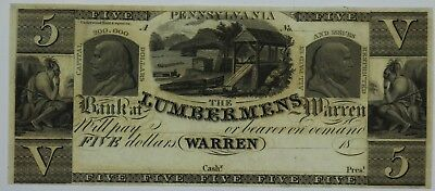 1800's $5 Five Dollar Bill Note Currency Lumbermens Bank at Warren Pennsylvania