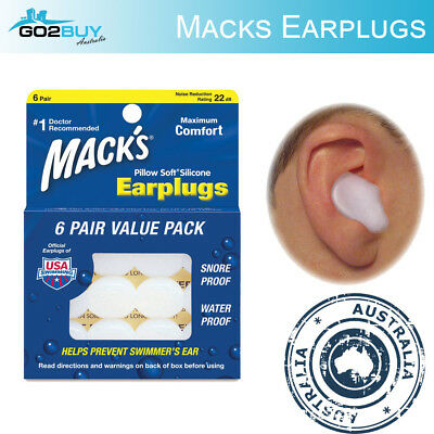 6x Mack's Pillow Soft Silicone Moldable Earplugs Snore Swim Study Ear Plugs 22dB