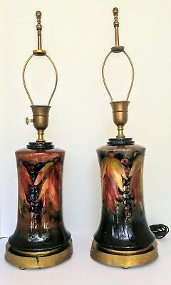 PAIR - vintage antique art deco MOORCROFT POTTERY lamps -  FLAMBE LEAF AND BERRY