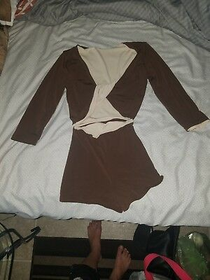 2 piece reversable brown/tan Body Wrappers Small Dance Outfit
