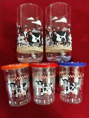 3 Vintage 1990's Bama Jelly Jar/Juice Cow Glasses with lids and 2 STD size glass