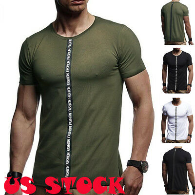 Men's Basic Extended Long T- Shirt Elongated Tee Fashion Casual Crew Neck M-3XL