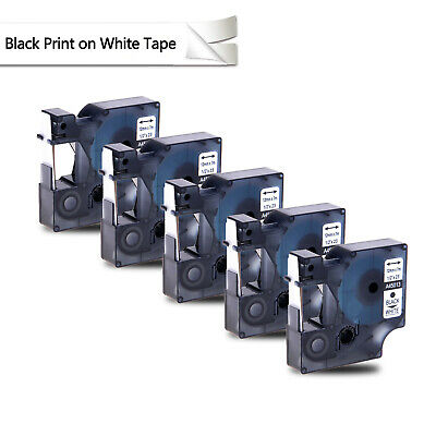 US STOCK 5PK 45013 Black on White Label Tape For DYMO D1 S0720530 12mm 1/2""