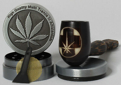 Plant Cross Wood pipe hand Carved smoking Tobacco Tagua med Pot 3pc herb grinder