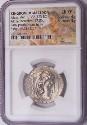 NGC Choice XF Ancient Alexander the Great Silver Tetradrachm Coin 4/5, 3/5