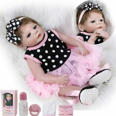 "20""Reborn Baby Doll Real Lifelike Girl full body silicone Handmade Xmas Gift Toy"
