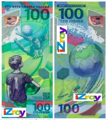 Russia 100 Rubles 2018 FIFA World Cup in Russia 2018 polymer banknote UNC