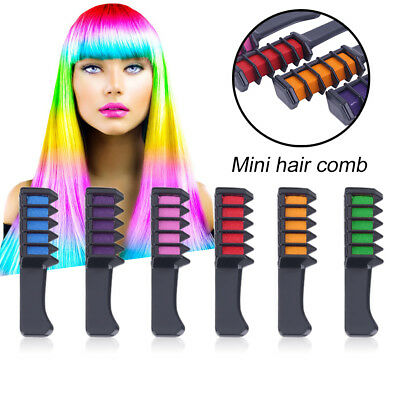 6Pcs Crayons Hair Chalk Comb Instant Hair Color Cream For Party Cosplay MKU6