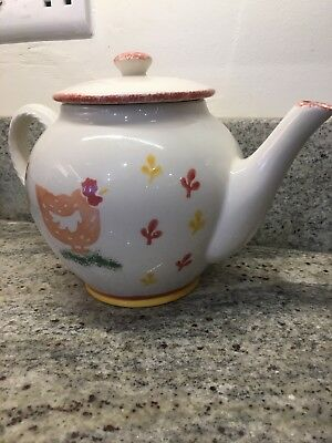 """Laura Ashley Hens large teapot Made and hand decorated in England 8"""" high"""
