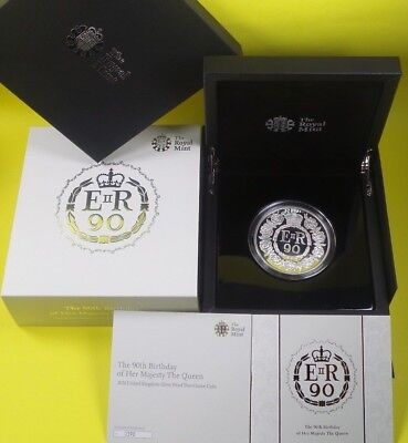 2016 Royal Mint 999 Silver Proof £10 Coin 5 Oz Queens 90Th Birthday Collection