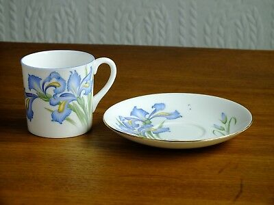 Shelley China Spares Blue Iris Coffee Cup And Teacup Saucer