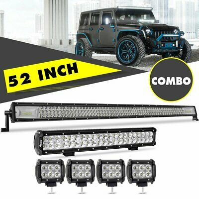 "50Inch LED Light Bar + 20in + 4"" CREE Flood Pods Offroad SUV ATV Ford Jeep 52"""