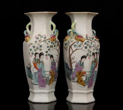 A pair China old Porcelain Qing Hand painting famille rose Ladies hexagon vase