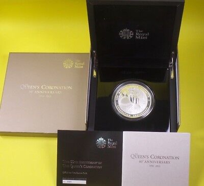 2013 Royal Mint 999 Silver Proof £10 Coin 5 Oz Queens Coronation  Anniversary