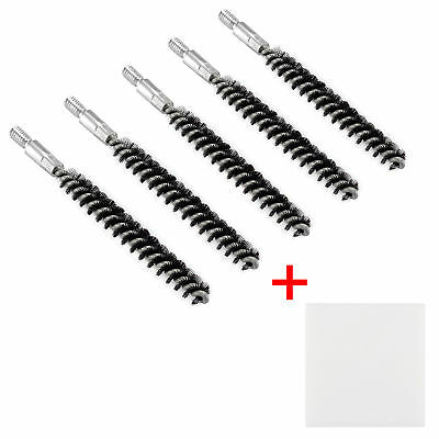 Pack of 5 Nylon Bristle Bore Cleaning Brush .22 cal 8x32 Thread with 50 Patches