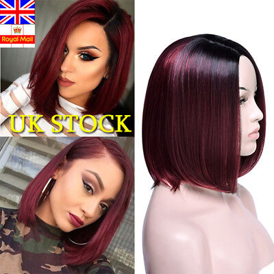 Womens Real Synthetic Short Straight Hair Full Wigs Side-parted BOB Style Ombre