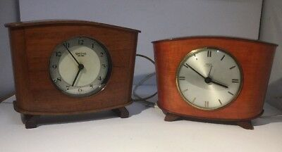PAIR of Vintage Art Deco Smiths Electric Wooden Cased Mantle Clocks - Untested.
