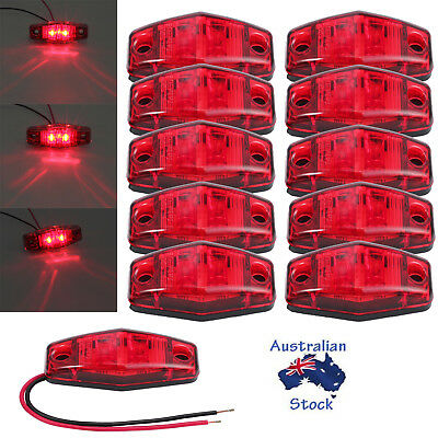 10x 2 LED CLEARANCE LIGHTS, SIDE MARKER TAIL LAMP RED TRAILER TRUCK RV 12-24V AU