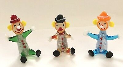 Set Of 3 Art Glass Mini Clowns Gift Boxed hand blown