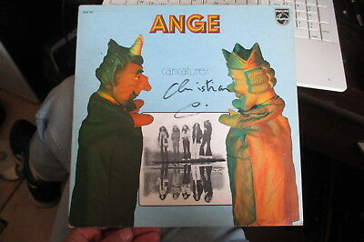 autographe signed groupe ange lp caricatures 1972 christian decamps PG 200