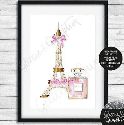 Designer Fashion Art iconic perfume eiffel tower makeup girls bedroom print