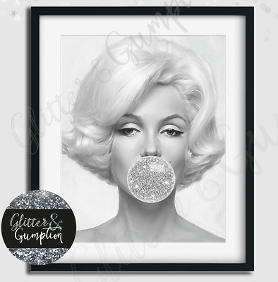 Designer Fashion Art Bubblegum marilyn monroe silver bubble girls bedroom print