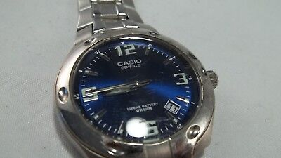7ba5b15a235c Casio 2719 Edifice Wr100M Deep Blue Dial Silver Case Bracelet A-1 Condition