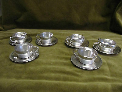 Art deco 1925 french sterling silver (950) 6 demi tasses Ravinet 487g